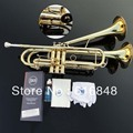 Trumpet Instrument Small Bb Trumpet  Adjustable Double Horn On The Surface Of Gold Professional Music Instruments 2017 Hot Sell