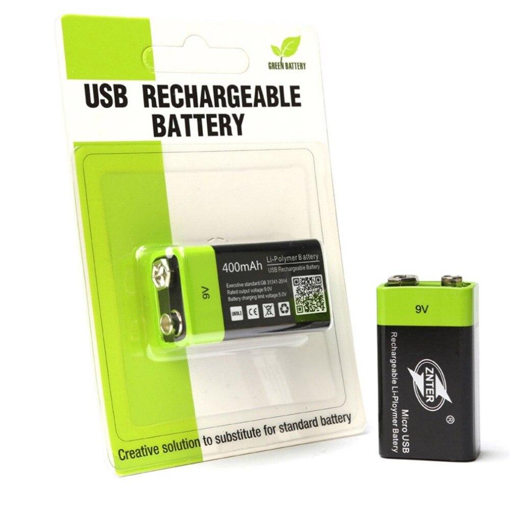 ZNTER Ultra-efficace 9 V 400 mAh USB Rechargeable 9 V Lithium polymère batterie pour RC caméra Drone accessoires