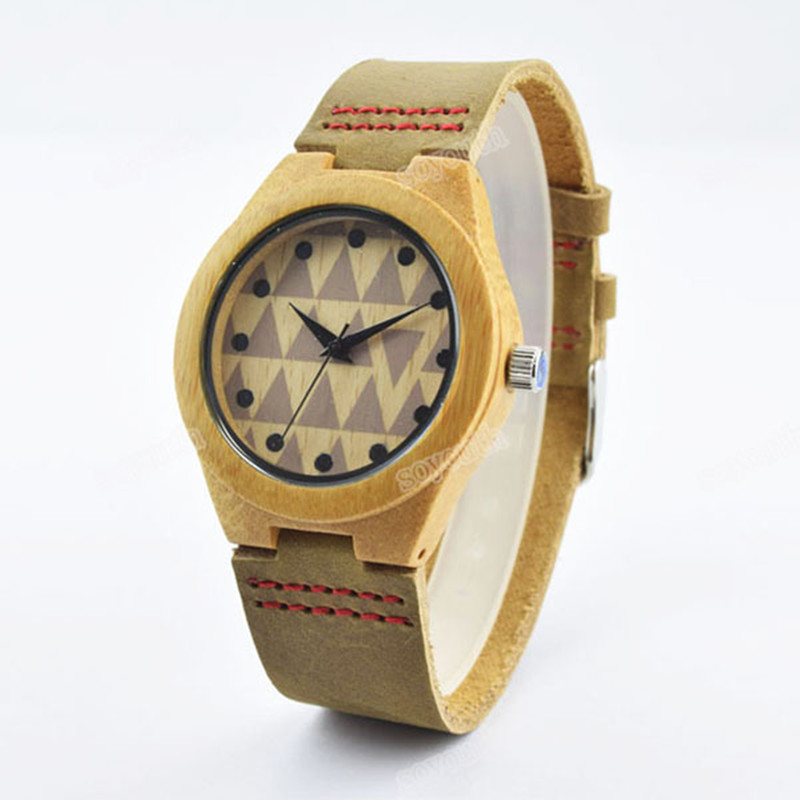 De Madeira De bambu Moda Relógios Para Melhor Presente das Mulheres Com Couro Genuíno Marca de Relógios Para A Mulher