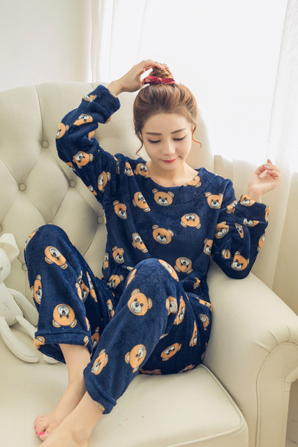 Lovely Bear Warm Winter Flannel Coral Velvet Woman Nightgown Sleepwear  Pajamas Set 9ebadda13