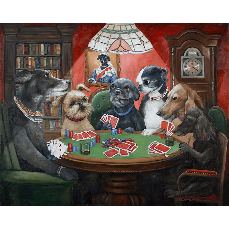 Hand Painted High Quality RedDogs Playing poker black velvet oil painting Oil Painting Canvas Living Room Artwork