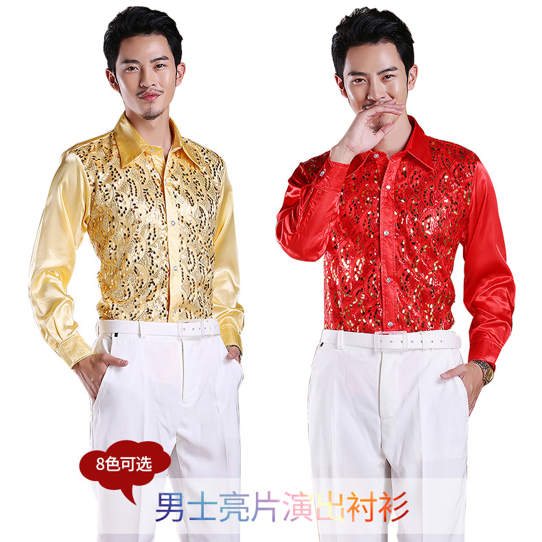 2017 new fashion Men show Sequins shirt mens stage costume party dance colorful shirt long sleeve chemise homme
