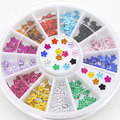 2015 Newn 200 Pcs 12 Colors Crystal Glitter Rhinestone Flower Nail Art Salon Stickers Manicure Wheel Studs DIY Decorations 6FFZ