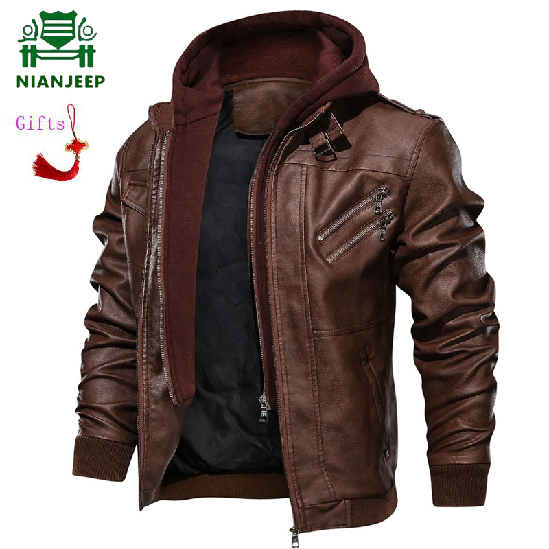 Dropshipping Men's Leather Jacket Men Motorcycle Removable Hood Winter Coat Men Warm Genuine European Size Pu Leather Jackets