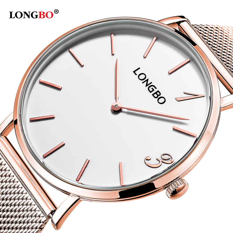 LONGBO Quartz Watch Lovers Watches Women Men Couple Analog Steel Band Wristwatches Fashion Casual Watches Gold Gift 1/pcs