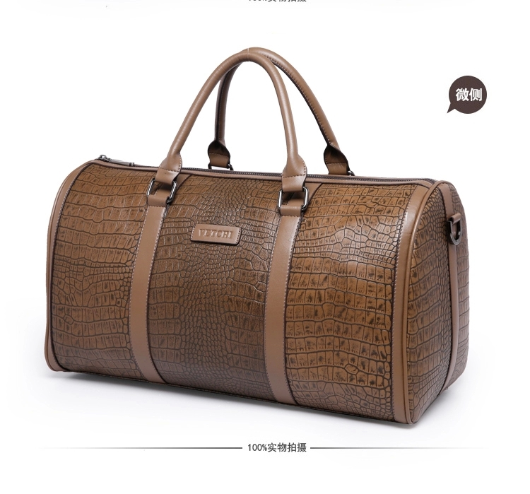 93cf3da367 Solid colors crocodile skin pattern large 100% genuine leather cowhide weekend  bag for men s travel bags luggage duffle 47 25cm