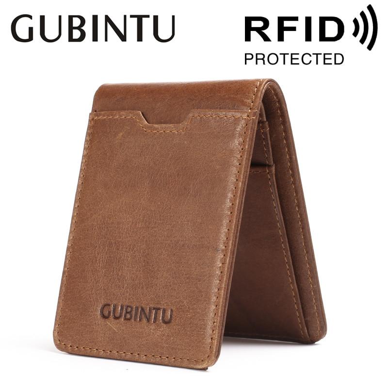 GUBINTU Fashion Quality Cow Genuine Leather RFID Antimagnetic Multifunctional Black Brown 2 Folds Men Dollar Card Holder Wallets