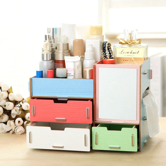 High Quality Wood Drawer Beauty Cosmetic Storage Box Makeup