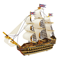 Funny HMS Victory 3D Assembled Wooden Puzzle Military Ships Model Stem Toys for Home Decoration