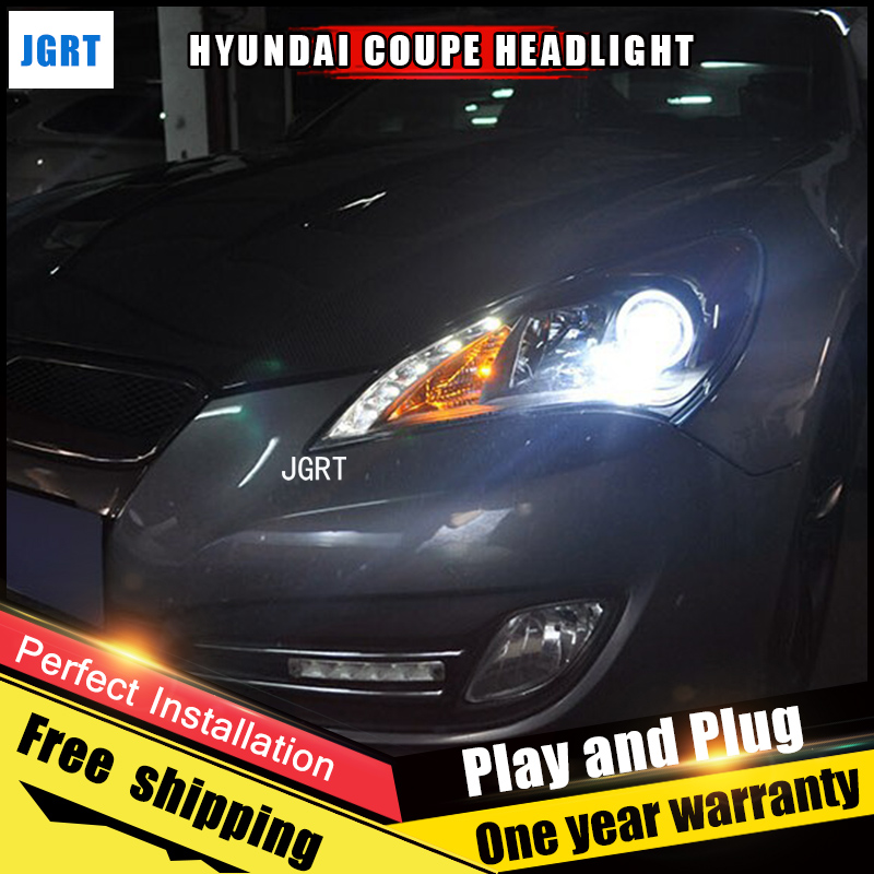 2PCS Car Style LED headlights for Hyundai Coupe 09-11 for Coupe head lamp LED DRL Lens Double Beam H7 HID Xenon bi xenon lens