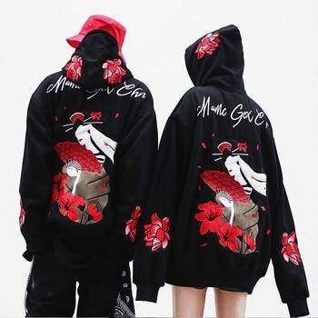 Drop Shipping Japanese Street Oversize Embroidery Lotus Hoodies Hip-hop Style Hoodie Lovers Loose Men Women Hoodies US Size S-XL hoodie