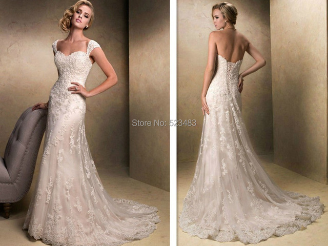2014 Vestiodos New Style Ivory/white Long Lace Mermaid