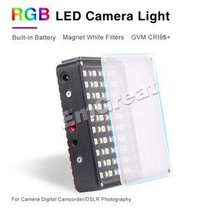 Image 2 - Портативный карманный светодиодный видеосветильник GVM, RGB, полноцветный, CRI 95 +, двухцветный, 2000 5600K, встроенный аккумулятор, для Sony Canon