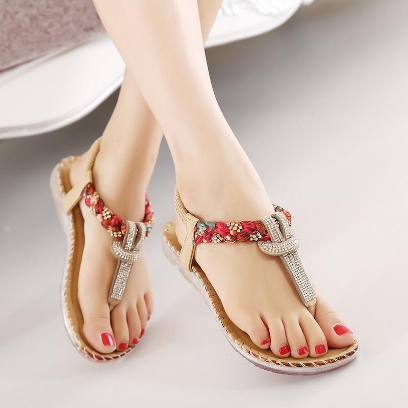 156681f6b Summer Fashion Women Flat Sandals 2018 Casual Bohemian Rhinestone Beaded  Beach Roman Sandals Ladies Footwear BT538