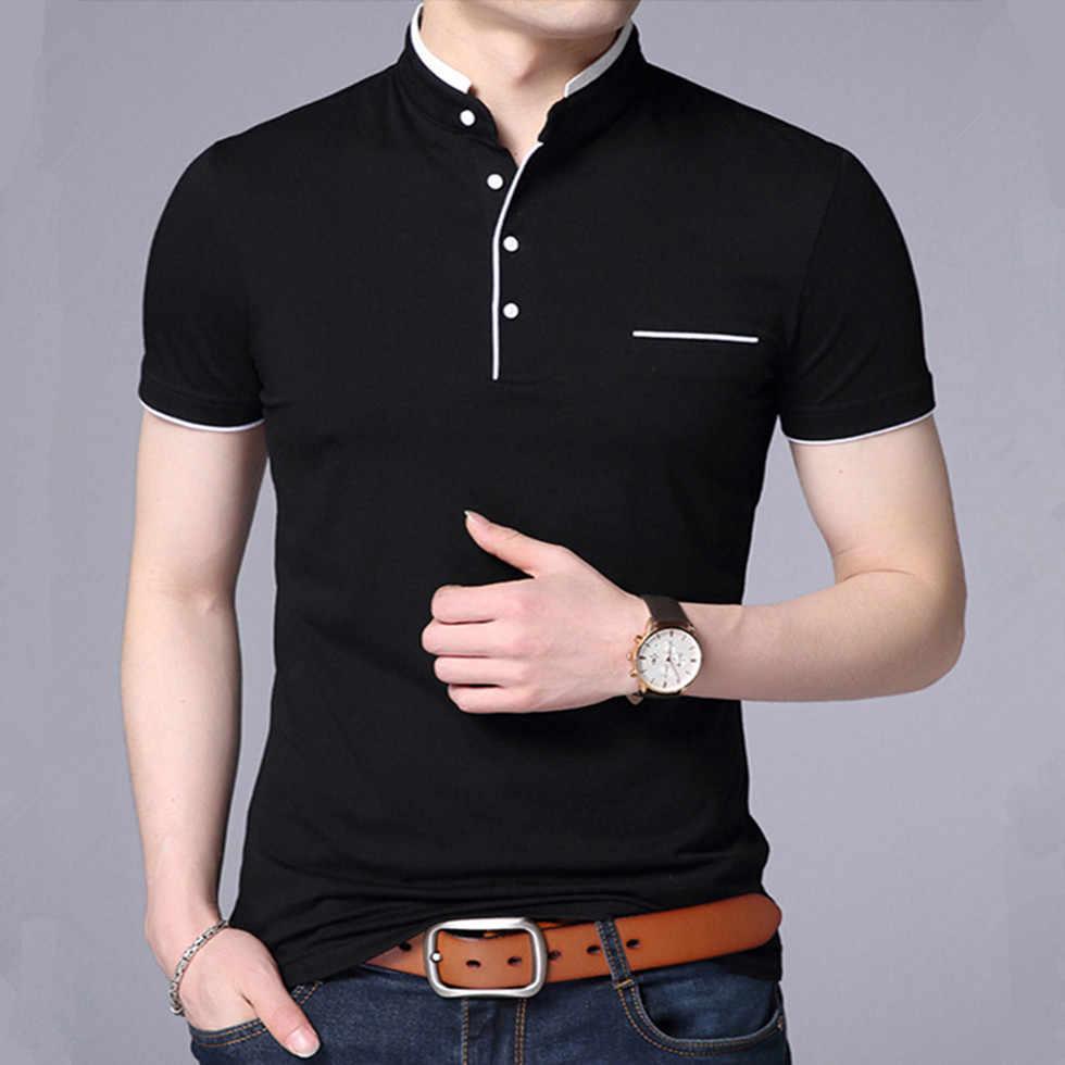 Мужская модная футболка, мужская одежда 2019, повседневная хлопковая Футболка с воротником-стойкой, летний топ, футболка с коротким рукавом большого размера