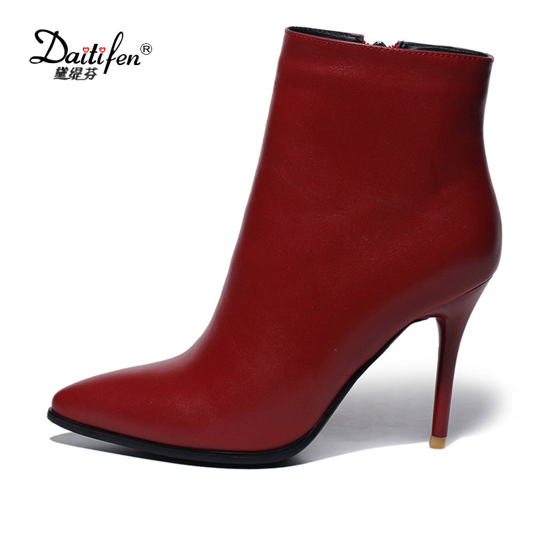 Daitifen Genuine Leather Size 33-43 Fashion Pointed toe Ankle Boots New Zipper Thin High Heels Shoes Woman Fall Winter Boots 2016 new fashion ankle boots high quality leather metal zipper decorated pointed toe high thin heel basic boots for woman