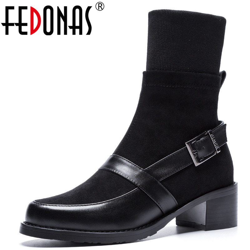 58ca66966f2a98 Mi Automne Talons Bottes Cuir Mode Rond Chaud Fedonas 1 Martin mollet Hiver  Bout Hauts Véritable Chaussures Femme ...