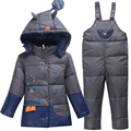 2017 Baby Winter Coat Cartoon Children's Suits Boys Girls 80% white duck down Suits Baby Thickening jackets + pants Suit sets