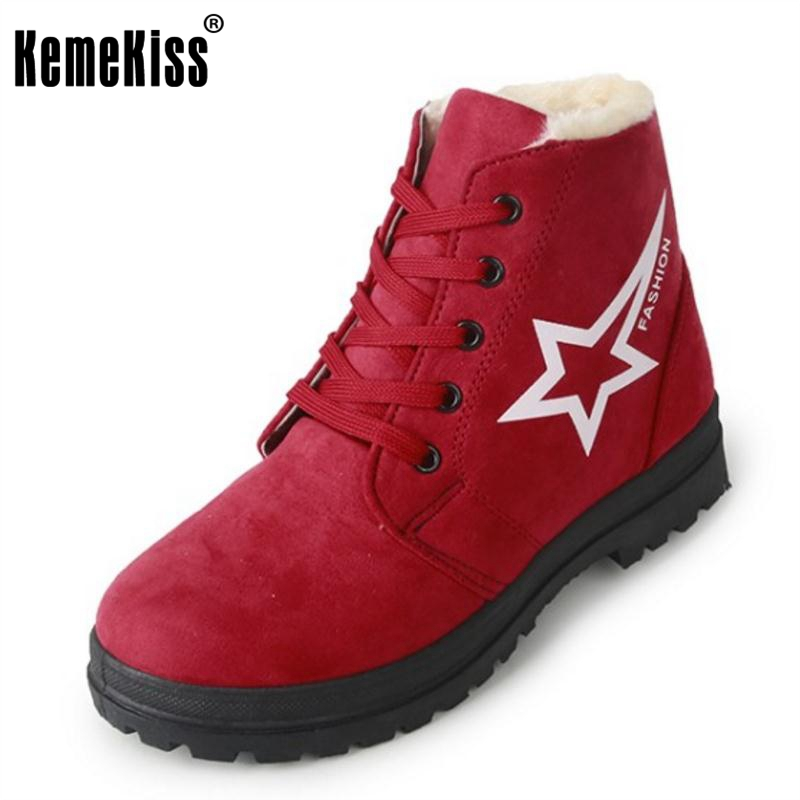 KemeKiss Female Winter Shoes Women Thick Fur Inside Warm Snow Boots For Cold Winter Women Mid Calf Warm Plush Botas Size 35-39