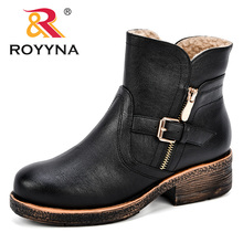 ROYYNA Women Ankle Boots 2018 Autumn Winter Female Casual Shoes Woman Flat Fashion Platform Round Toe Buckle Strap Solid