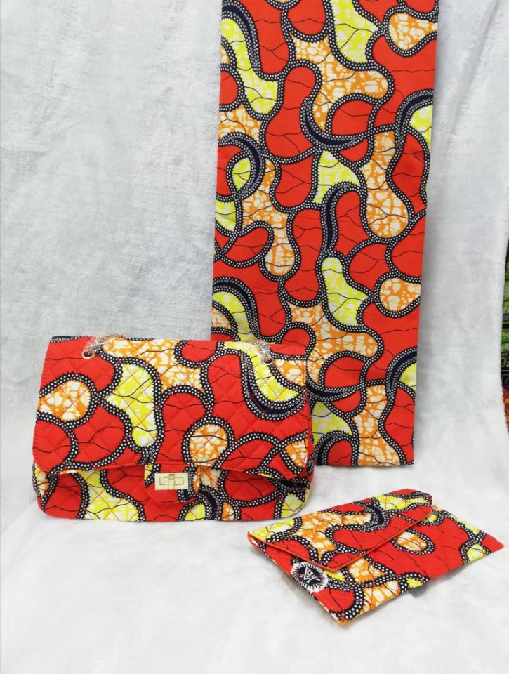 6Yards Fashion yellow and red printed batik wax match african two big handbag set for party
