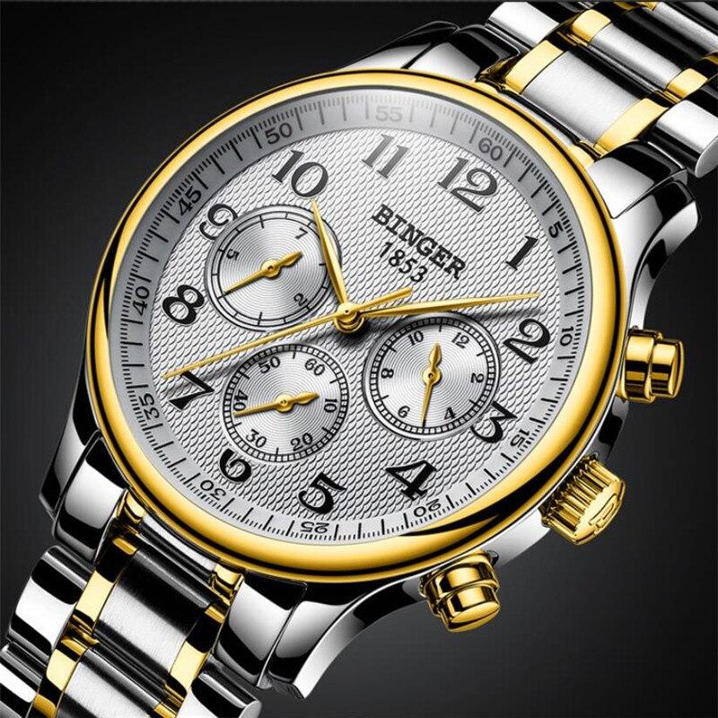 سويسرا بينغر ستة إبر الميكانيكية للرجال ساعات الأعلى العلامة التجارية الفاخرة الفولاذ المقاوم للصدأ ثلاثة بطلب صغير ساعات أوتوماتيكية الرجال-في الساعات الميكانيكية من ساعات اليد على  مجموعة 3