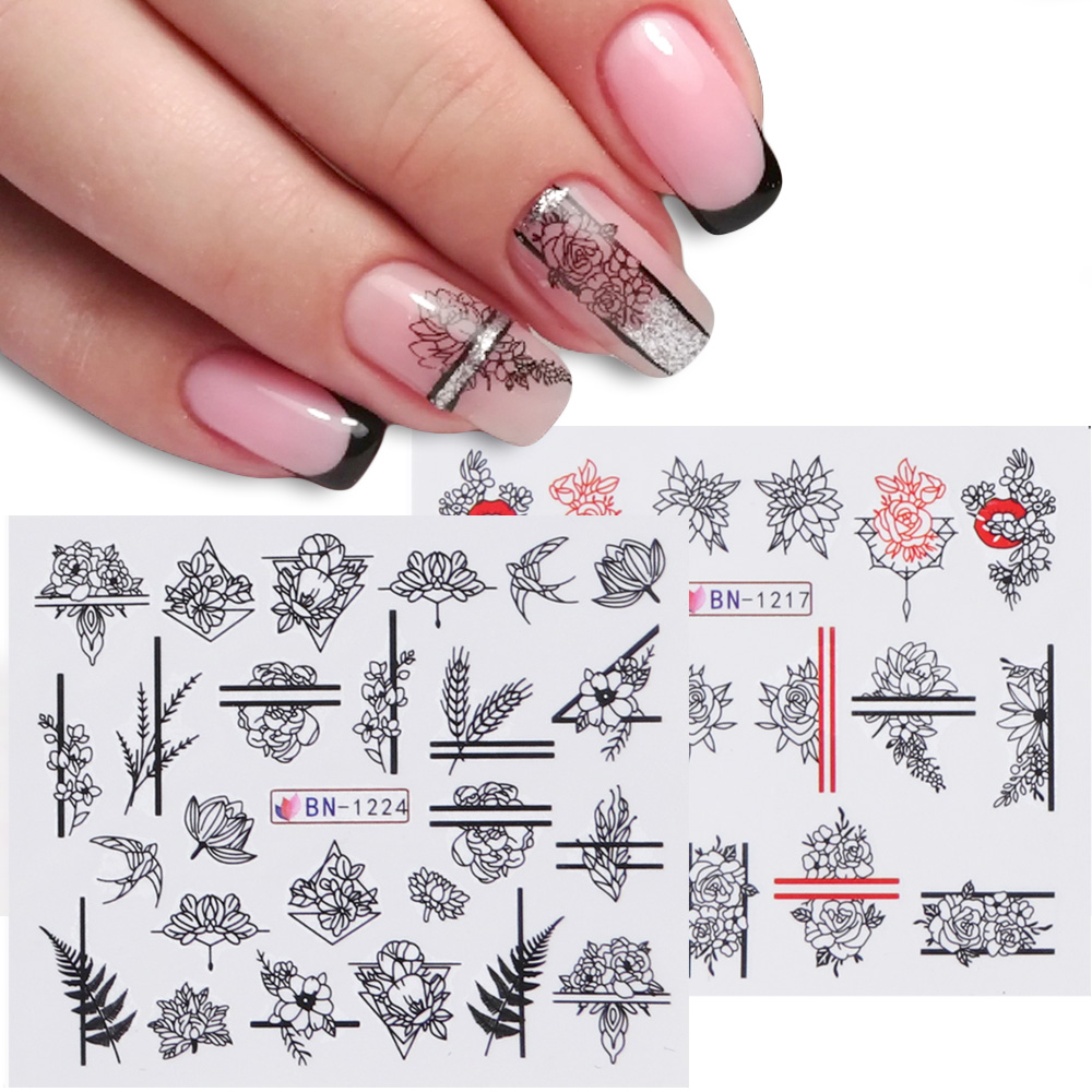 1pcs Nail Stickers Black Line Sexy Girl Slider Writing Letter Tattoo Nail Art Water Transfer Decals Manicure Decor TRBN1237-1248