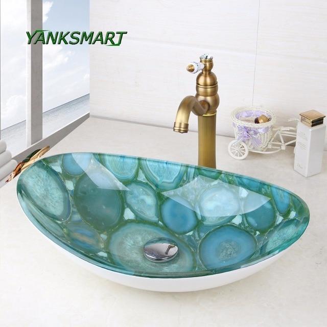 YANKSMART Stone Oval Glass Washroom Basin Vessel Vanity Sink Bathroom Mixer  Basin Washbasin Retro Brass Faucet