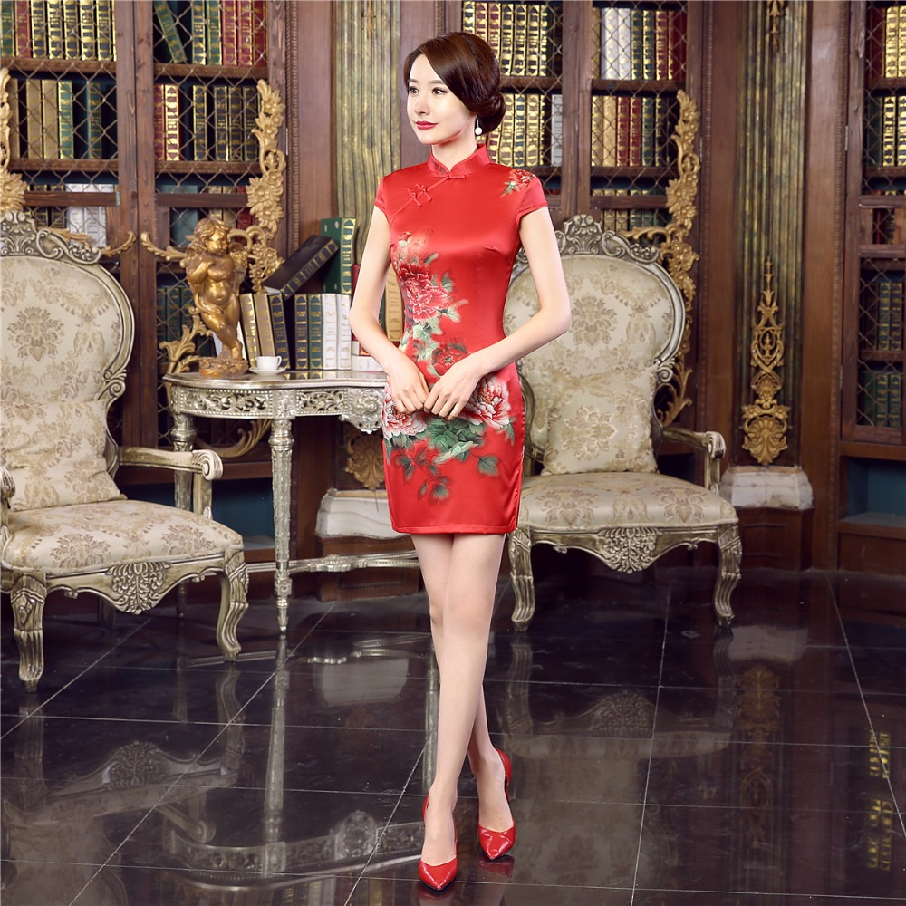 Shanghai Story Faux silk Chinese traditional dress Vintage Silm ...