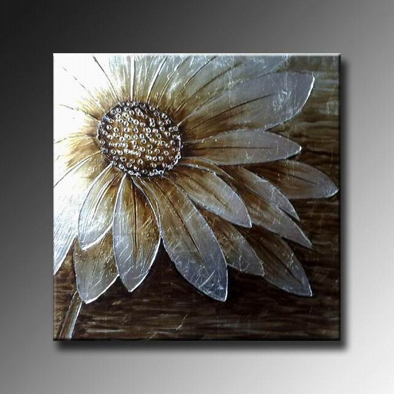 Abstract Painting On Canvas Silver Flower Oil Paintings