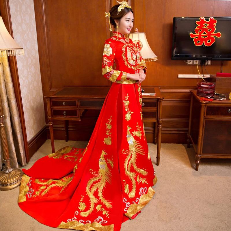 Ny drake och Phoenix Bride Kinesisk stil Marry Tailing Wedding - Nationella kläder - Foto 1