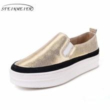 2017 натуральная кожа обувь на платформе повседневная женская обувь на платформе с круглым носком Серебро Золото винтажные женские туфли-оксфорды Американский Размер 8