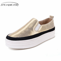 Genuine cow Leather platform lady shoes bottom Casual women brogues flats shoes silver gold Vintage oxford shoes for women