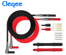 цена на NEW Cleqee P1300A Probes for multimeter Replaceable gilded Multimeter probe Test Lead kits 4mm Banana Plug safety cap test probe