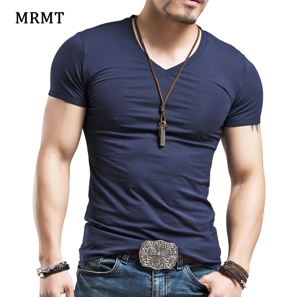 2018 Lycra cotton men s short sleeve v neck t shirt men v-neck short sleeve T-shirt tshi ...