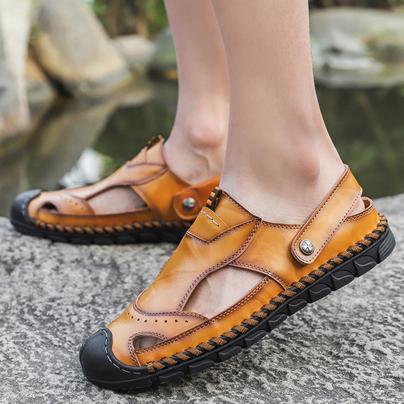 2019 Hot Sale Summer cow leather shoes Men Outdoor Casual Flats Sandals Fashion Beach Shoes Cheap Top Quality Non-slip Slippers