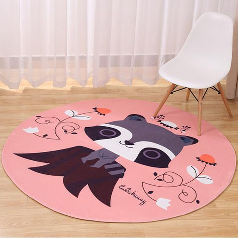 New Hot Thick Round 80CM Animal Pad Fox Family&Raccoon Baby Toy Mats Kids Room Game Carpet Crawling Rugs Christmas Birthday Gift