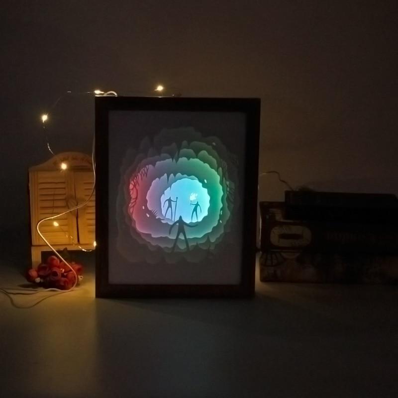 Papercut Light Box LED USB Night Light Lamp Creative Paintings Tribe Torch
