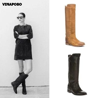 Vinapobo 새로운 빅 사이즈 35 42 겨울 웨지 니 하이 부츠 패션 여성 부츠 지적 발가락 캐주얼 여성 드레스 부츠 롱 부츠-에서무릎 - 하이 부츠부터 신발 의  그룹 1