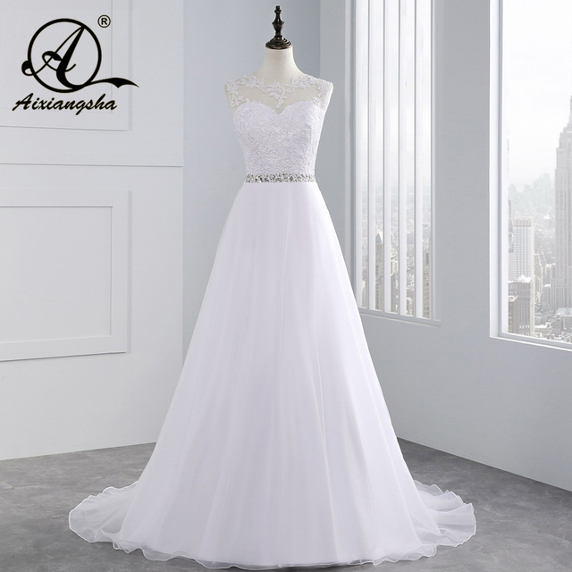 2018 vintage Beach A Line Appliques Beading Lace Wedding Dress See Though Back Tulle Bridal Dresses Cap Sleeve vestido de noiva