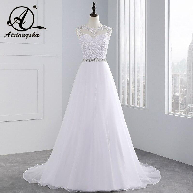 2018 vintage plage une ligne Appliques perles dentelle robe de mariée voir si dos Tulle robes de mariée Cap manches vestido de noiva