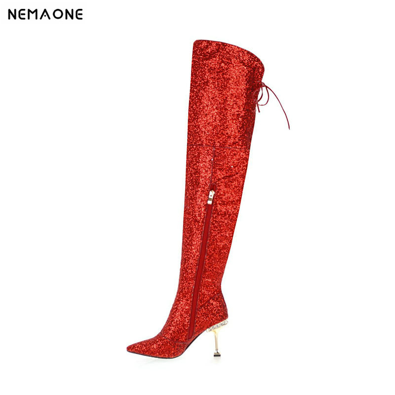 NEMAONE women high heels over the knee high boots shiny bling winter warm dancing shoes ladies party dress wedding boots woman цена