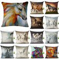 18 Inches Wild Animal Style Cushion Cover Horse Pattern Cotton Linen Pillow Cover Cushion Cover PillowCase Home Decor