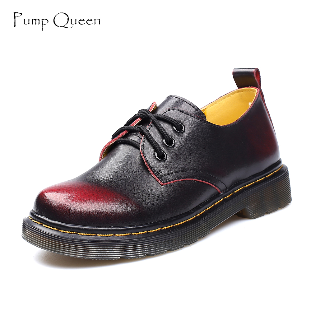 Oxford Shoes For Women Shoes Woman Cow Leather Martin Ankle Female Casual Shoes Flats 2018 Spring Autumn Lace-Up Zapatos Mujer new black martin shoes fashion spring women shoes flats casual oxford shoes female obuv zapatos mujer