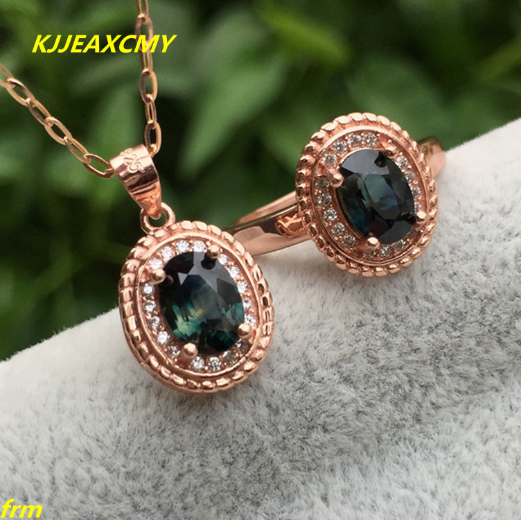 KJJEAXCMY Fine jewelry 925 Silver Inlay Natural Colorful Sapphire 1 Carat Jade Women's Jewelry Set Flawless 1 pair square faux sapphire inlay hairpin