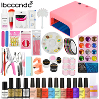 Nail Art Set Manicure Tools Kit 36W UV Lamp 10 Color 10ml Gel Polish Base Top