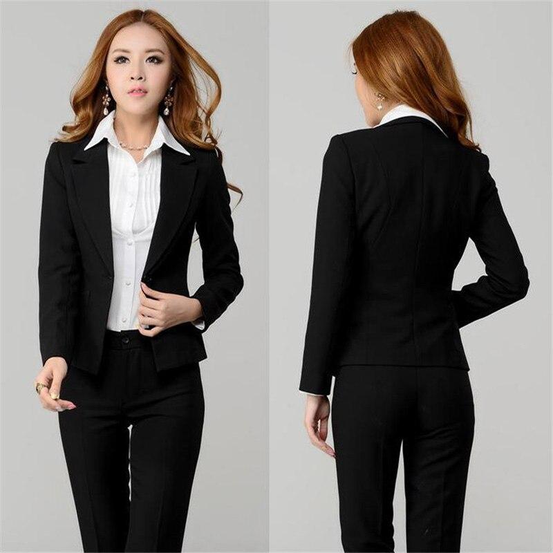 New Black Elegant Formal Work Wear 2 Piece Sets Womens Business Suits Blazer Slim Female Trousers Suit Office Uniform One Button