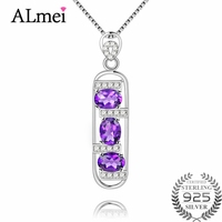 Gemlove 1 2ct Amethyst Necklace Female Natural Stone Pendant 925 Sterling Silver Pendants For Friends Gifts
