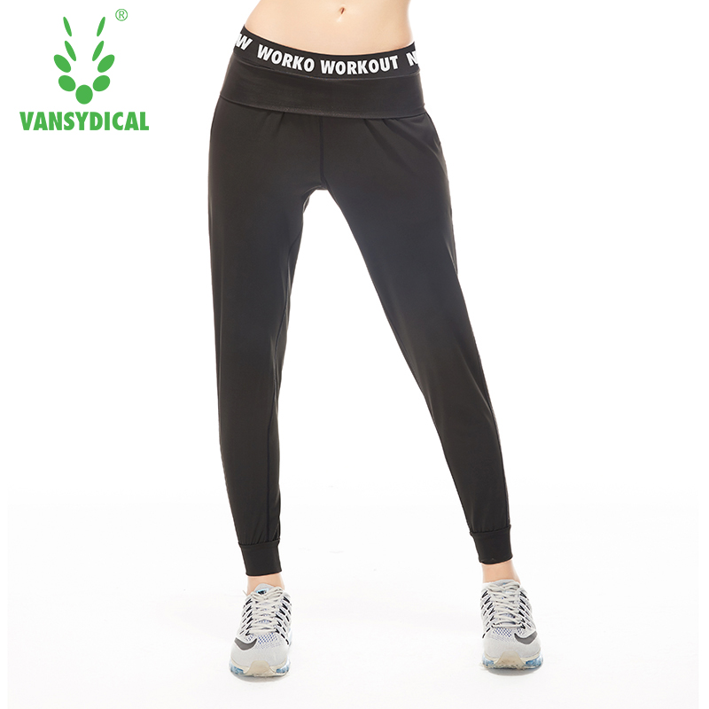 Vansydical Women Running Pants Black Gray Letter Waist Patchwork Fitness Yoga Full Length Bottoms Female Gym Activewear
