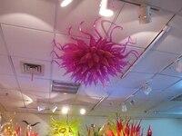 Мурано цветок Дизайн фиолетовый Стекло потолочный светильник домой отель украшения chihully Стиль руки черные Стекло светодиодный потолочный
